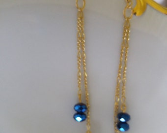 BEAUTIFUL CHAIN EARRINGS,choice of crystals(Dark Sapphire Blue,Ruby Red,Aquamarine Blue)Earwires Gold Chains,16KGold Earwires,Dangle,Drop