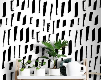 Black and white Specks Wallpaper | Abstract mural | Choose your color | Pattern wall art | Minimalistic decor  #14