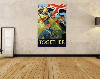 """LARGE SIZE Vintage British War Poster """"Together"""" / British Propaganda Poster / Vintage War Poster /Victory Poster / Keep Calm and Carry On"""