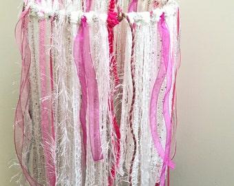 Beautiful Bohemian Pink Ivory White Mobile Boho Nursery Room Decor