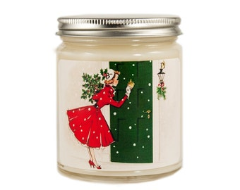 Christmas Candle, Scented Candle, Vintage Candle, Container Candle, Soy Candle, Vintage Christmas Candle, Holiday Candle