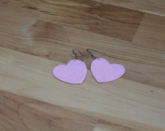 Felt Hook Earrings - I love you RED and PINK