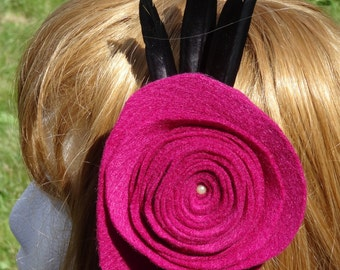Large fuchsia Hair Clip/Fascinator with Feathers