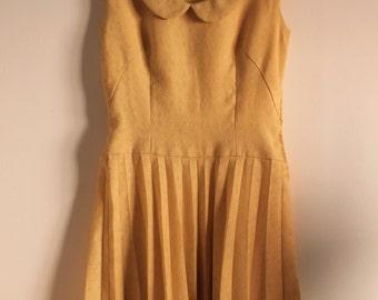 1960's Wool Dress - Vintage Dress - Peter Pan Collar Dress - Mod Style - Handmade- Women's Dress-