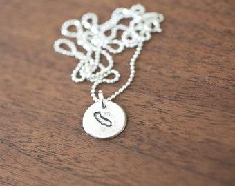 Tiny California Necklace Silver California Necklace State Charm State Necklace CA Small State Charm California Charm California Necklace