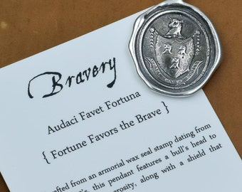 Fortune Favors the Brave -  Stag wax seal necklace - Stag necklace wax seal jewelry - 119
