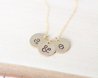 Gold Initial Necklace, Mom Necklace, Mothers Necklace, Two Children, New Mom Gift, lowercase letters, Gold Discs, Simple MOM Necklace