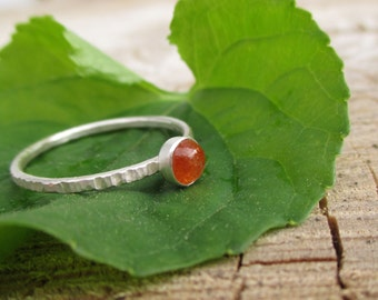 Tiny Stacking Ring - Brilliant Orange Sunstone - Rustic Grooved and Blackened Dainty Band - Sterling and Fine Silver