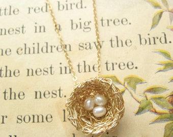 Bird Nest Necklace, Three Pearls, Gold Wire Precious Meshes