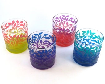 Tree of Life - Lowball Tumbler Glasses - Set of 4 - Inlaid Style - Etched and Painted Glassware - Custom Made to Order