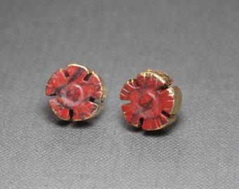 Red Jasper Flower Earrings Gold Dipped Leaf Red Gemstone Post Stud Earrings