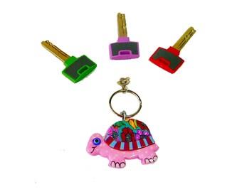 Turtle key chain, key chain, keychain, pink , key holder, unique key chain, bag decorate,cute key chain, colorful turtle