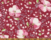 Vintage Feedsack Fabric - Pink Posies on Deep Red - Flour Sack Quilting Cotton 1930s 1940s