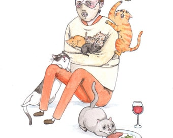 "Hannibal Lect-purr - 5x7"" Silence of the Lambs, Hannibal Lecter with Cats Print"