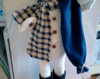 Avery Snowman Standing Handmade Winter Fabric Doll