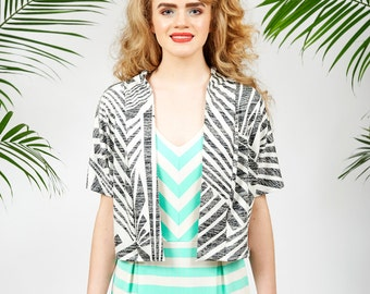 Carmel cardigan - palm print crop cardigan