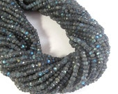 Dark Labradorite Rondelle Beads, Faceted Rondelles, 4mm, 6.5 Inch Strand, Jewelry Supplies, Necklace Rondelles (R-Lab3)