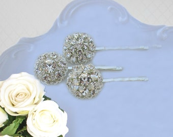 Bridal Hair pins, Wedding bobby pin, Silver crystal, hair Clip, bridesmaid hair accessories, Rhinestone bobbie pin, Bridesmaid Gifts, U pin