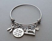 Sewing Charm Bracelet, Sewing Bracelet, Do What You Love, Knitting, Crocheting, Sewing Machine Charm, Scissors Charm, Stainless Steel Bangle