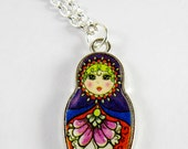 Doll Necklace, Russian Nesting Doll, Russian Babushka Doll Necklace - Blue, Purple, Red