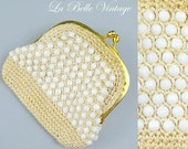 Beaded Coin Purse ~ Vintage Ivory Crochet Mesh Change purse