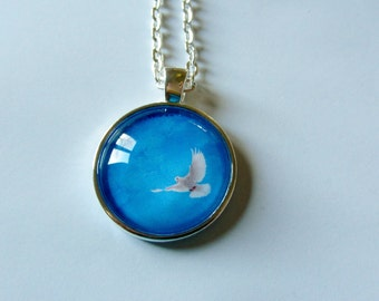 Peaceful Dove in Flight Necklace Key Ring Glass Domed Pendant