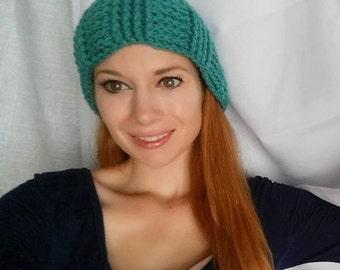 New Teal Turquoise Bahama Blue Crochet Yarn Hat Winter Cap Beanie