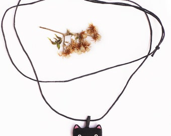 Black cat necklace, Fabric kitty necklace, Textile animal necklace, Cat lover jewelry, Cloth cat charm pendant, Tiny minimalist necklace