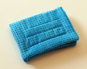 Mini Wallet with Credit Card slots and zipper Coin pocket - Turquoise Dots - fabric