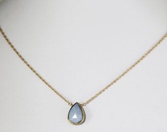 Blue Opal Necklace October Birthstone Necklace Denim Blue Opal Necklace Real Opal Necklace Adjustable Opal Jewelry BZ-N-153.2-BlueOpal