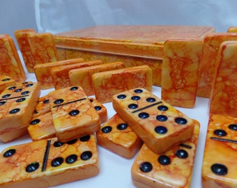 Surface of the Sun--- Hand Painted 28 Piece Standard Size Double Six Domino Set in Hand Painted Storage Tin, instruction booklet, orange