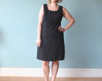 plus size dress / black sleeveless cocktail dress / 1950s / XL
