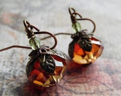 Pumpkin Earrings - Autumn Crystal, Antique Copper and Brass Drop Earrings