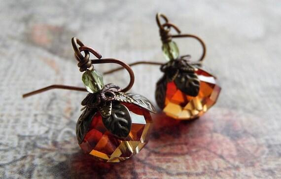 Pumpkin Earrings LAST PAIR - Autumn Crystal, Antique Copper and Brass Drop Earrings
