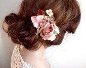 dusty pink mauve floral hair clip, vintage style, fall hair accessories, red floral hair comb, bridal hair flower, pink flower hair clip
