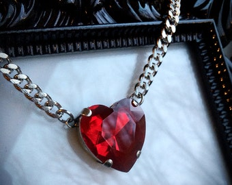 Red Crystal Heart Necklace - Red Heart Necklace - Heart Pendant - Crystal Necklace - Heart Jewelry - Crystal Jewelry - Crystal Pendant