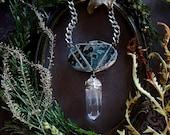 Crystal Necklace - Ocean Jasper Clear Quartz Necklace - Green Ocean Jasper Lemurian Quartz - Mermaid Amulet - Enchanted Alchemy