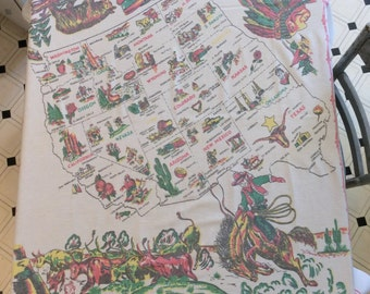 Vintage Souvenir Tablecloth Cowboy Herds Cattle Through the Western States