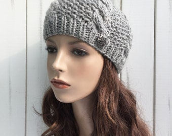 Hand Knit woman winter Hat wool Beret Hat grey hat crystal metal button