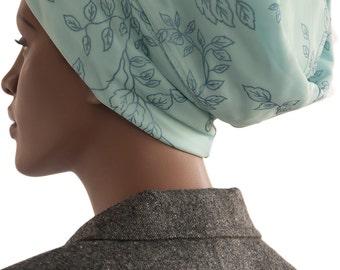 Loc Soc Tube Soc Blue Embossed Floral Print Satin Knit Lined Dread Headie Tube Headband Sock Handmade