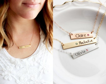 Thick Engraved Bar Birthstone Necklace - Keepsake Nameplate Birthstone Necklace Silver Rose Gold Date Necklace Custom Bridesmaid Gift
