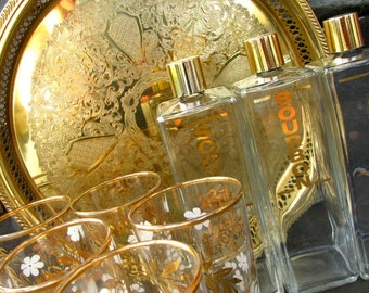 Vintage Bar Set Barware Mid Century Modern Gold Hollywood Regency Glassware Glasses Tray and Whiskey Bottles
