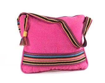 Tribal Tote Boho Guatemalan Cotton Pink Slouch Bag Colorful Purse School Beach Bag