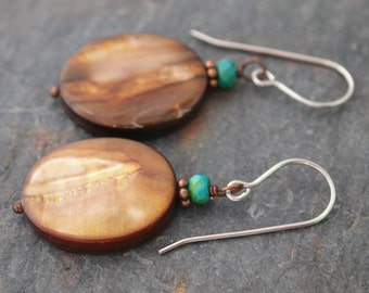 Turquoise and Brown Mother of Pearl Earrings