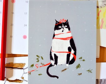 Christmas Cat Postcards - Tuxedo Cat - Set of 12