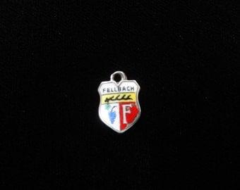 Fellbach, Germany Town Coat of Arms- Travel Shield Charm, 800 Silver Pendant, Vintage Charm, Enamel Charm, Sterling Silver, Fellbach Charm