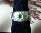 Crime diopside, sterling silver domed band, commitment band, women's ring, girls ring