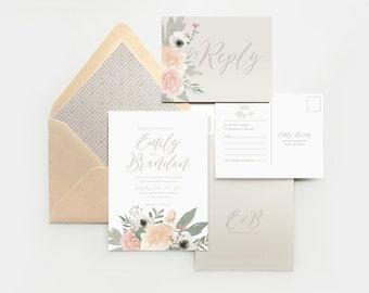 Blush floral wedding invitation, romantic wedding invitation, watercolor floral, pink wedding, blush and gray wedding, peach and gray