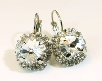 Clear Crystal Earrings Bridal Clear Swarovski Crystal Drop Earrings All Clear White Crystal Bridal earrings large Halo ,Silver,Clear,SE98