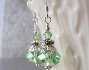Light Green Crystal Drop Earrings, Peridot Crystal Earrings, Green Bridesmaid Earrings, Mint Wedding Jewelry, Sterling Silver Earing Wires